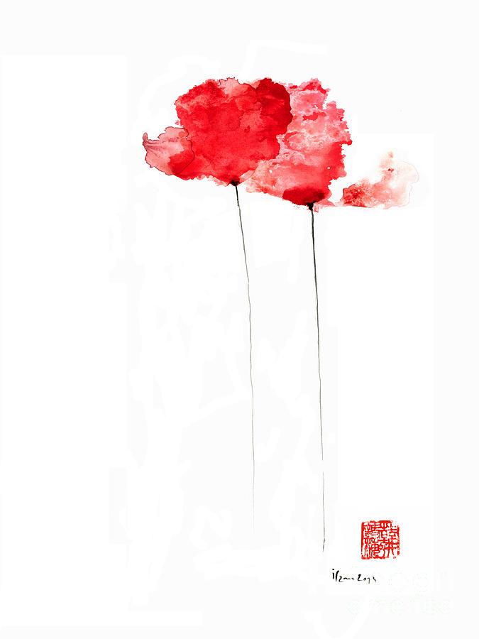 Red Poppy Watercolor Flower Art Print Poppies Atmospheric |Watercolor Poppies Pink